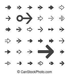 Set of grey arrows. Vector Icons.
