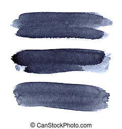 Set of grey blue brush strokes isolated on the white...