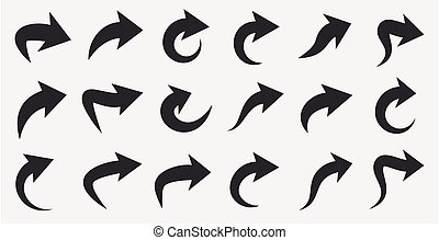 Set of grey curved arrows isolated on white background.