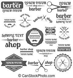 Set of grey emblem for barber shop, vector illustration.