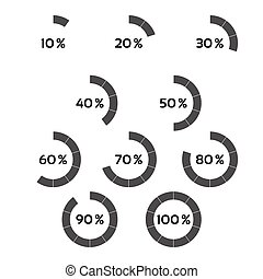 Set of grey percentage indicators, progress indicator with ten steps, circle diagram from 10 to 100 percent isolated on a white background, vector illustration