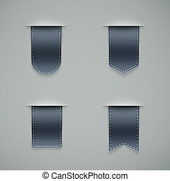 set of grey ribbons different shapes