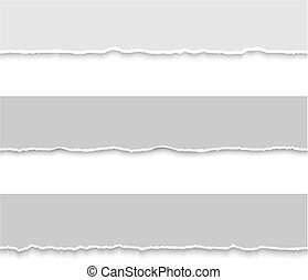 Set of grey torn papers. Vector illustration for your design