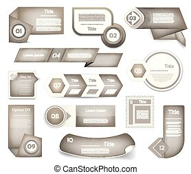 Set of Grey vector progress, version, step icons. eps 10