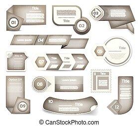 Set of Grey vector progress, version, step icons. eps 10