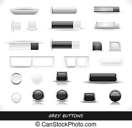 Set of grey web buttons