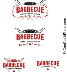 Set of grill and barbecue badges, stickers, emblems