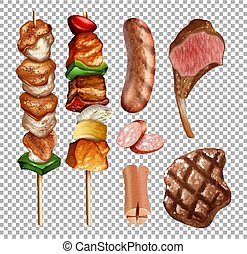 Set of grilled food on transparent background