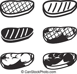 Set of grilled meat vector icon