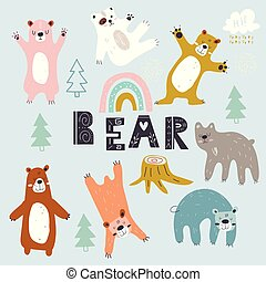 Set of Grizzly bears. Creative scandinavian style kids. Cute polar Teddy bear. cartoon hand drawn vector illustration.