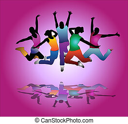 set of group peoples dance . flyer - set of group peoples...