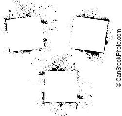 Set of three grunge rectange frame backgrounds