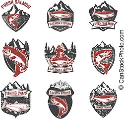Set of grunge badges with salmon fish. Design elements for logo,