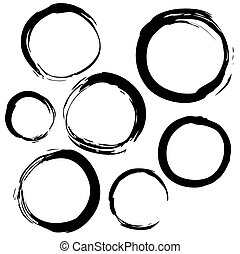 set of grunge banners, labels, circles