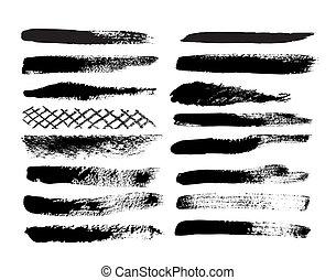 Set of grunge brush isolated on white background