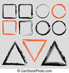 Set of grunge charcoal frames of different shapes vector