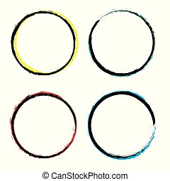 Set of grunge circles. Vector grunge round shapes. Bicolor style.