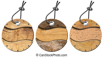 Set of Grunge Circular Wooden Tags - 3 items - Three...