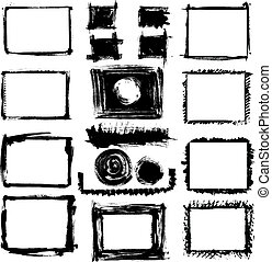 Set of grunge hand drawn frames