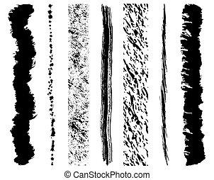 Set of 7 vector grunge ink brush strokes.