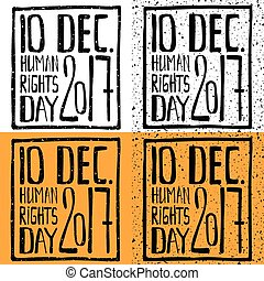 Set of grunge lettering. Human rights day 2017