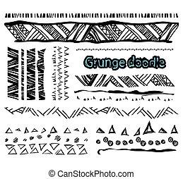 Set of grunge lines borders background doodles elements for design