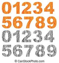 Set of Grunge Orange Grey Numbers