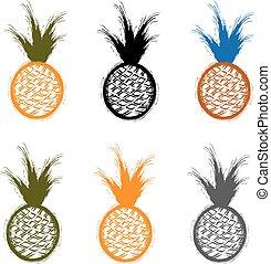 set of grunge pineapples