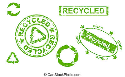 recycled symbols and stamps - Set of grunge recycled symbols...
