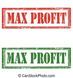 Max Profit - Set of grunge rubber stamp with text Max Profit...
