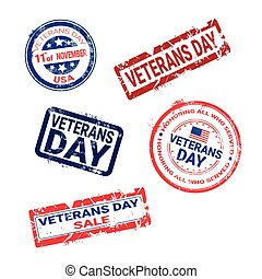 Set Of Grunge Rubber Stamps With Veteran Day Badge On White Background, Usa Holiday Retro Labels Collection