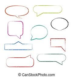 Set of grunge speech bubbles, vector illustration.