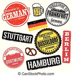Set of grunge stamps with Germany