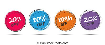 Set of grunge sticker with 20 percent off in a flat design with halftone. For sale, promotion, advertising