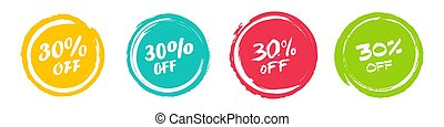 Set of grunge sticker with 30 percent off in a flat design. For sale, promotion, advertising