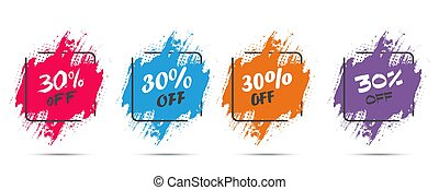 Set of grunge sticker with 30 percent off in a flat design with halftone. For sale, promotion, advertising