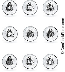 Set of  grunge style glossy web buttons