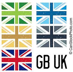set of grunge style uk flags