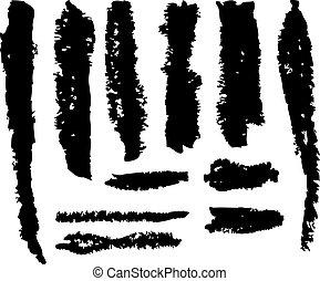 grunge vector brush strokes - Set of grunge vector brush...
