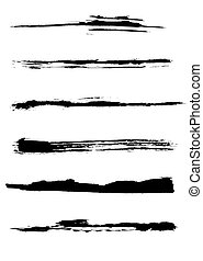 Set of grunge vector brush strokes (individual objects).