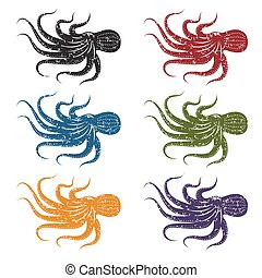 set of grunge vector octopus
