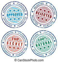 Set of grunge vector stamp prints: Approved, Rejected,...