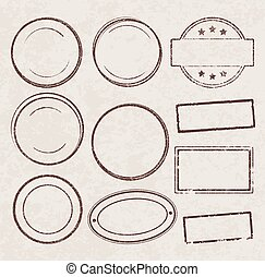 Set of grunge vector templates for rubber stamps on old paper background