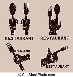 set of grunge vintage vector emblems of restaurant with hands
