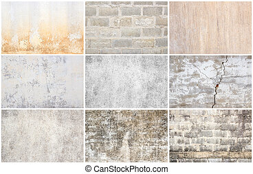 Set of grunge wall background and texture
