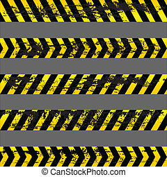 Set of grunge yellow caution tapes