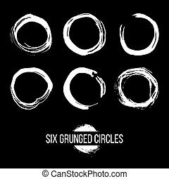 Set of grunged traced circles by painbrush and ink