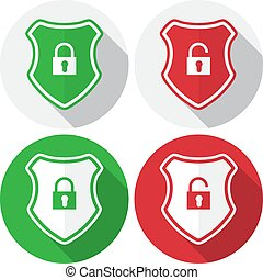 Set of guard shield with lock icon in a flat design. Vector illustration