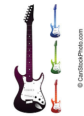 Set of guitars on a white background. Vector - Set of...