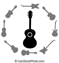 Set of Guitars Silhouettes